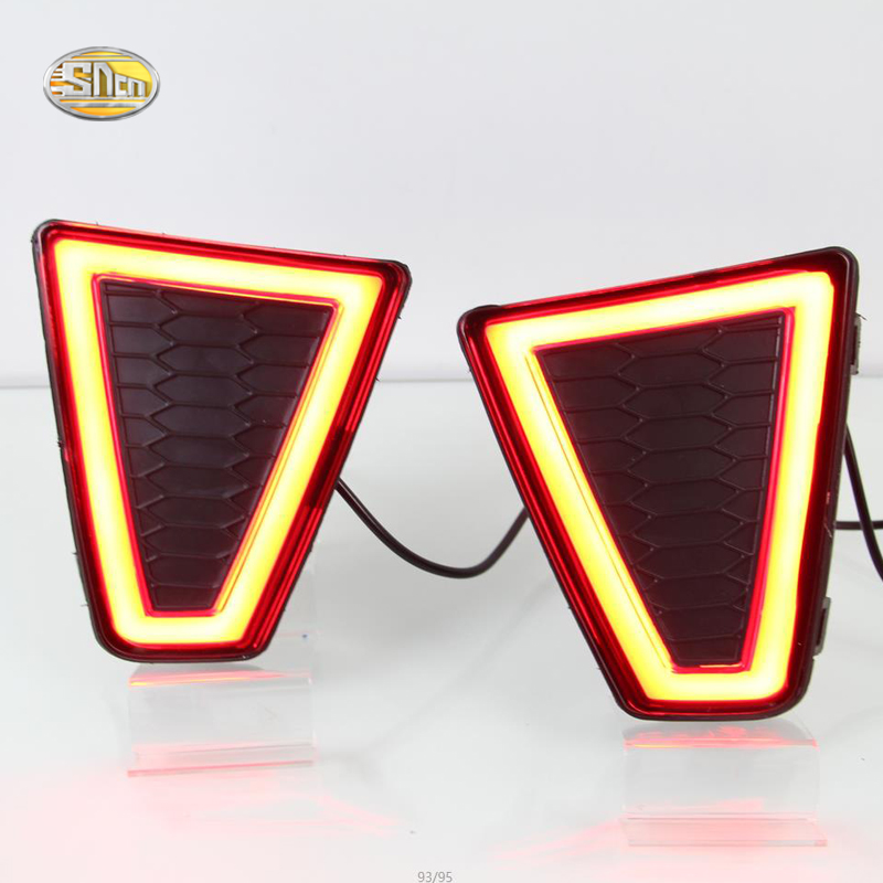 SNCN LED rear bumper reflector light for Honda Jazz 2014-2016 fit Rear rear driving braking lamp high quality chrome rear trunk streamer for honda jazz fit 09 up free shipping brand new