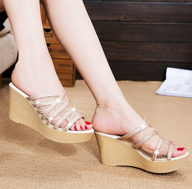 5caf1e4bb680 2017 High quality Spring Summer Women Slippers High Thick Heel Women  Sandals Platform Ladies Wedges Sandals Flip Flops-in Women s Sandals from  Shoes on ...
