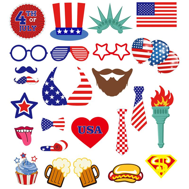 25pcs 4th Of July Photo Booth Props Kit Night Games Accessories