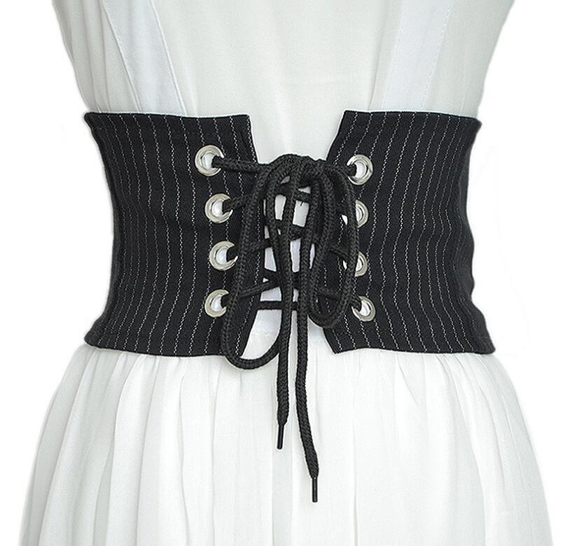 Women's Runway Fashion Striped Bandage Cummerbunds Female Dress Corsets Waistband Belts Decoration Wide Belt R1397