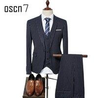 OSCN7 3pcs Striped Wedding Suits for Men Business Formal Slim Fit Suit Men 2017 Terno Masculino Latest Coat Pant Designs