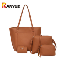 Fashion 4 PCS Women Composite Bag High Quality PU Leather Shoulder Crossbody Bags For Women Clutch