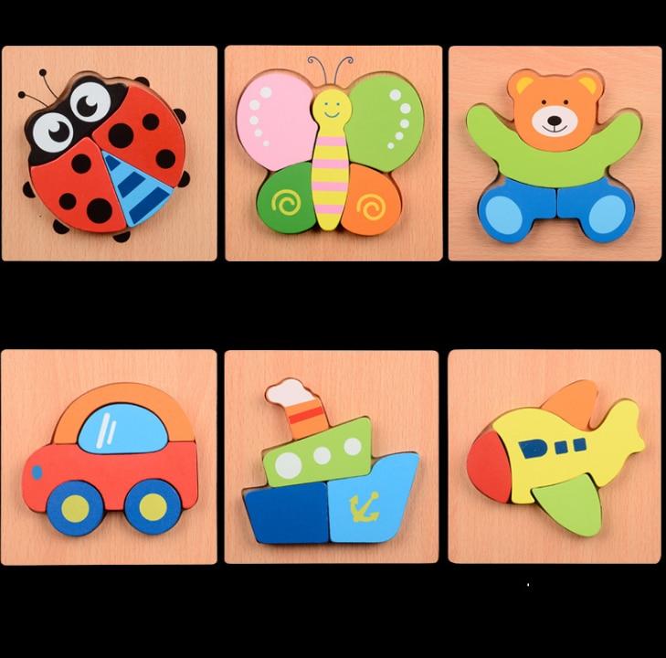 1 комплект милые дерево животных трафика рук захвата головоломки Детская форма познания головоломки ребенка раннего образования игрушка-г...