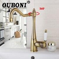 OUBONI Antique Bronze Kitchen Faucet Swivel Spout Bathroom Basin Tap 360 Rotatable Deck Mounted Kitchen Hot