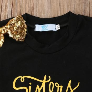 Summer Toddler Kids Baby Girl Letter Print T-shirt Tops+Sequins Denim Shorts Jeans 2PCS Outfits Children Clothing Set 2