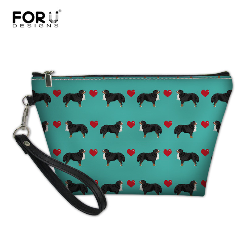 FORUDESIGNS Love Bernese Dog Printing Women Cosmetic Bag Travel Organizer Makeup Bags Storage Pouch Cases Neceser De Maquillaje