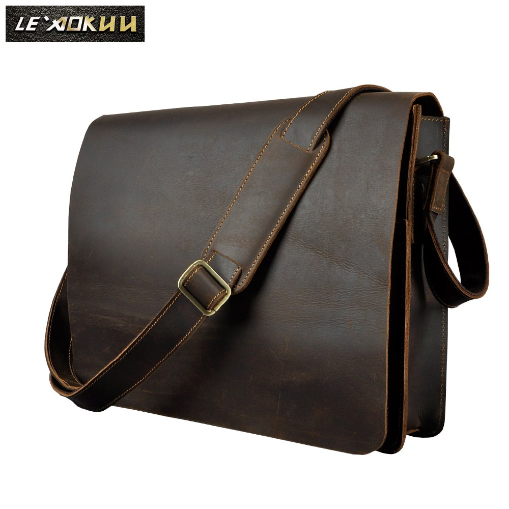 18507f1c45f7 Men Leather Casual Design Messenger Shoulder Crossbody Bag Daily Bag  Fashion Male Laptop bag University School