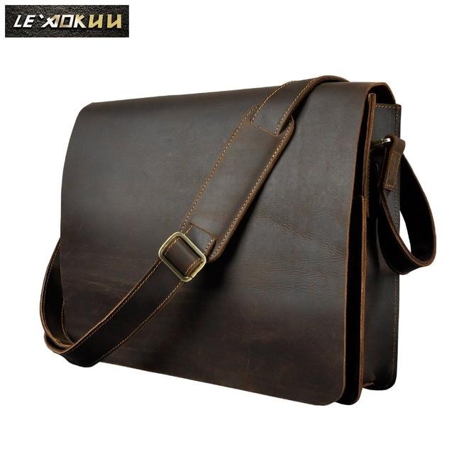 $ US $49.40 Men Leather Casual Design Messenger Shoulder Crossbody Bag Daily Bag Fashion Male Laptop bag University School Book Bag A063