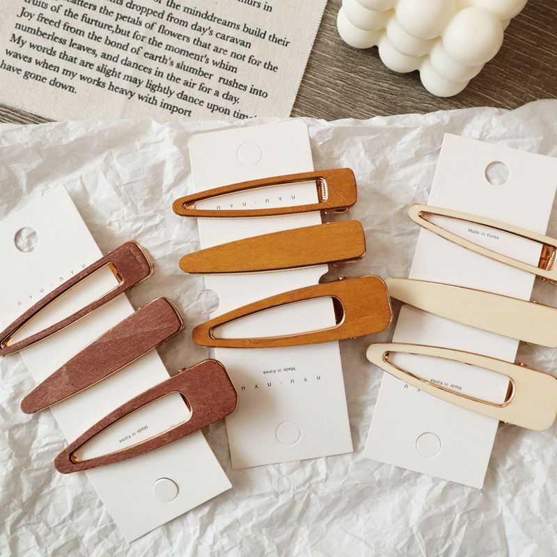 2019 New Design Hair Styling Accessories 1PC Korea Hollow Geometric Waterdrop Hair Clips Vintage Handmade Wood Hairpin Barrettes