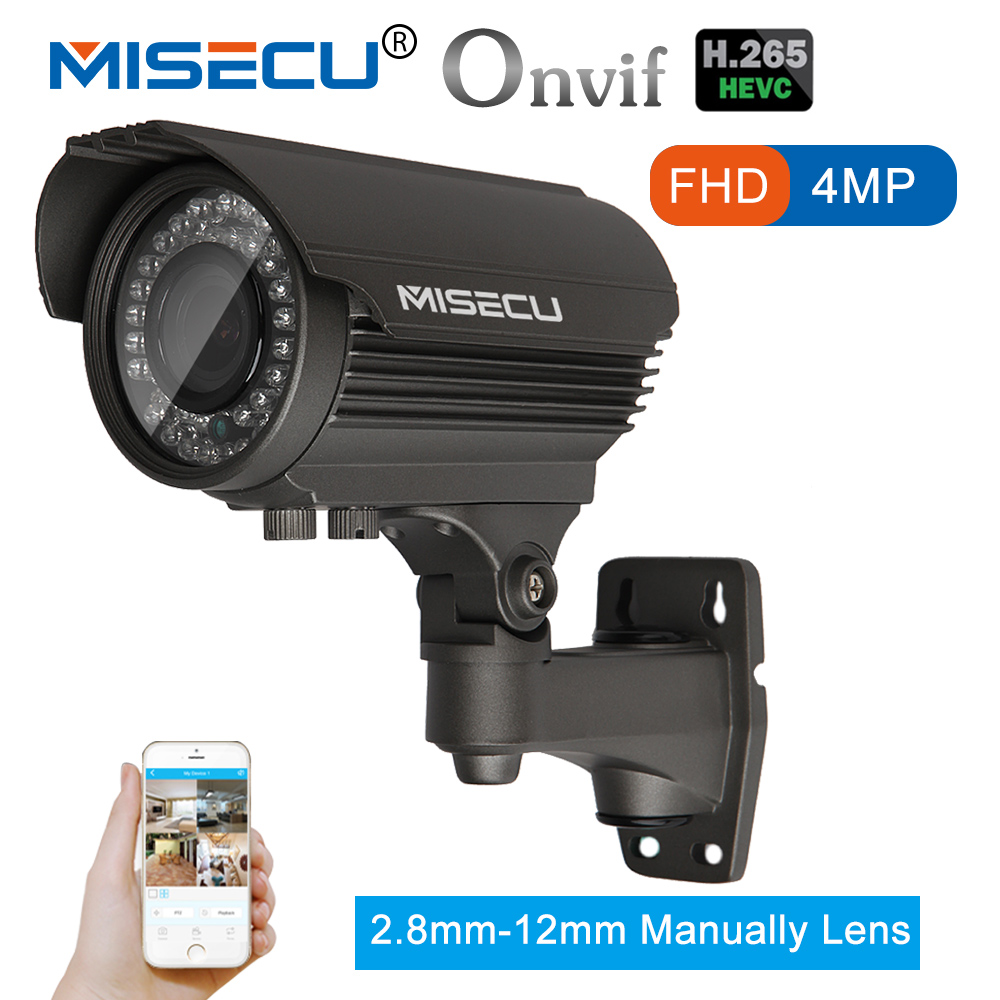 MISECU 4.0MP H.265/H.264 48V POE 2.8-12mm Hi3516D OV4689 IP Camera WDR RS485 protocol ONVIF 2592*1520 Metal ip Camera Night View misecu 48v poe h 265 h 264 full hd 2 0mp 3 0mp 4 0mp ip camera hi3516d ov4689 outdoor wide dynamic motion onvif p2p night vision