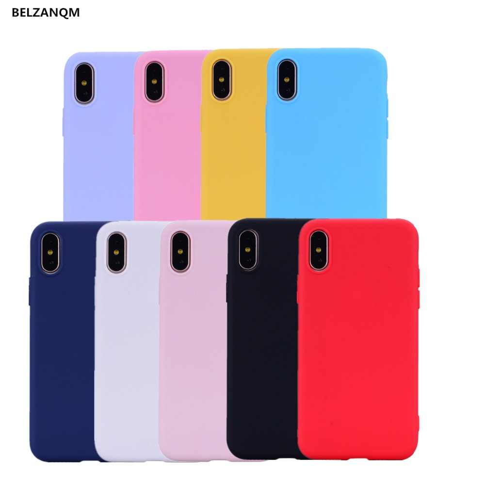 BELZANQM Candy Matte Soft TPU Phone Case For iPhone Xs Max Xs XR X Case Silicone Back Cover For iPhone 6 6S 7 8 Plus 5s SE Case
