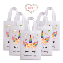 10PCS Unicorn Gift  Bag Shopping Bags Party Candy Handbag Female Girl Coated Waterproof Floral Printed Non-woven
