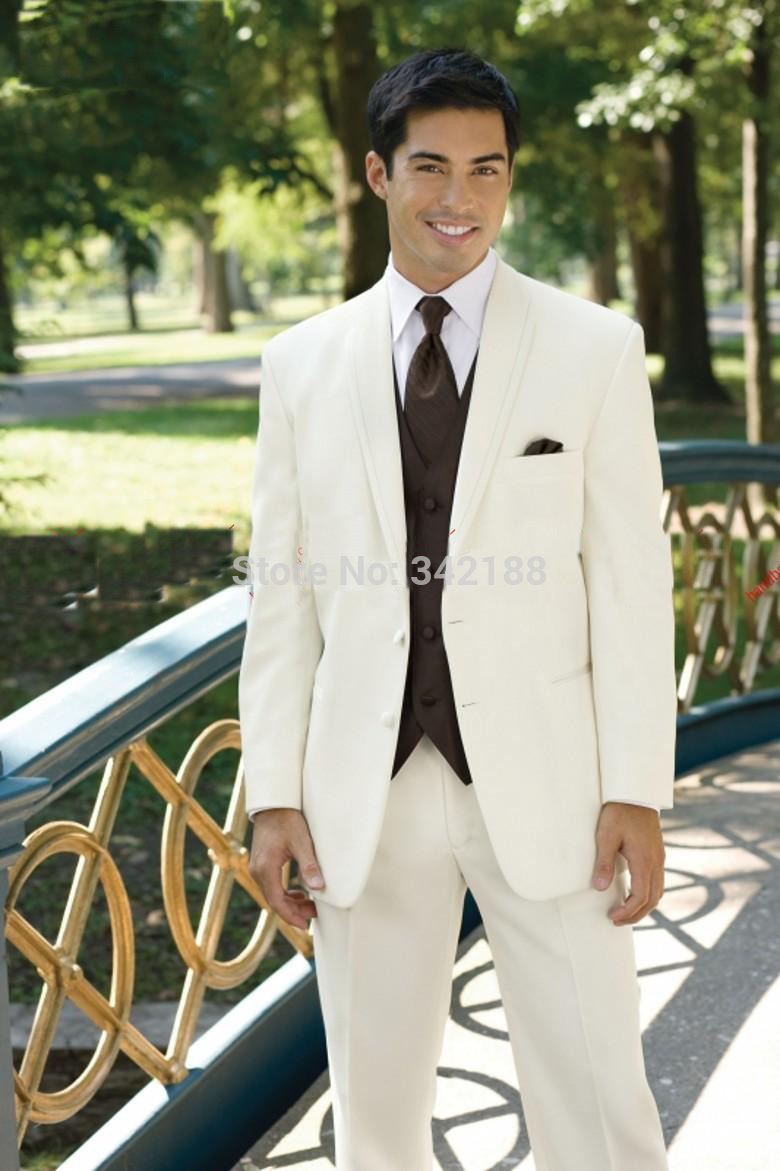 FREE EMS! Ivory Groom Tuxedos Groomsman Suit/BEST MEN SUITS/wedding Mens Suits (Jacket+Pants+Vest+Tie) Ok:244