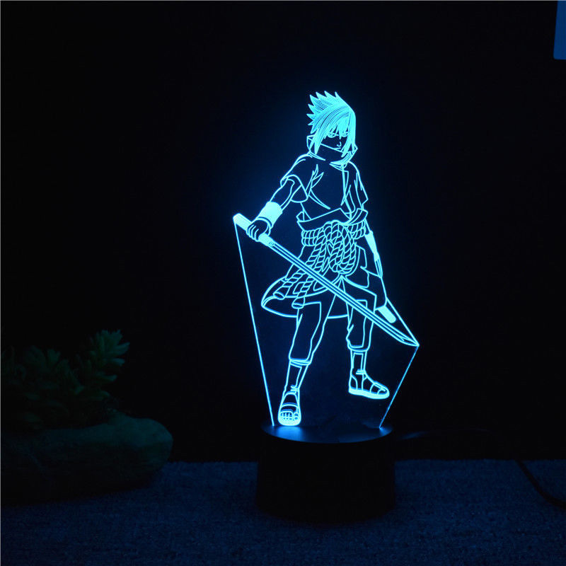 7 Colors Changing Led 3D Uchiha Sasuke Modelling Table Lamp Anime Home Decor Light Fixture Kids Sleep Bedside Naruto Night Light 3d luminous ice hockey player shape led table lamp 7 colors changing home living room decor light fixture baby sleep night light