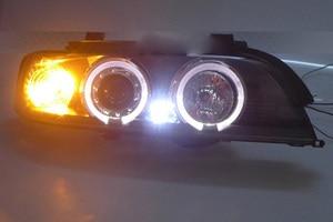 Image 5 - 2 pcs przedni reflektor samochodowy dla E39 reflektorów 1996 ~ 2003 rok, 520 528 530 XENON HID reflektorów H7 Xenon obiektyw dwukrotnie U kąt oczy