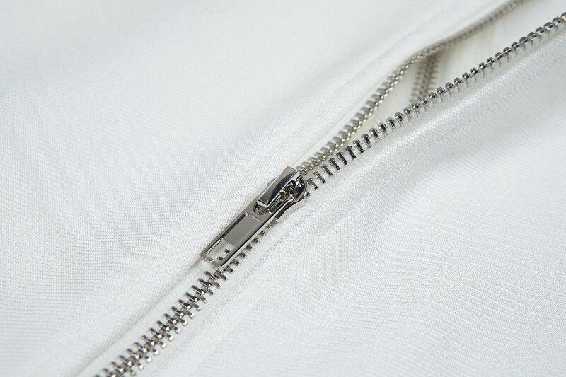 Split Zipper Femmes Tenue Mode Slash Cou Moulante Robe Blanc Élégant Asymétrique Gosexy Longueur Lacée Robes Fête Étage De wtpvHf6q