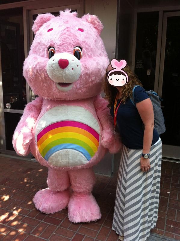 Costumes de mascotte ours de soin rose personnalisé fête d'anniversaire de noël femmes mascottes hommes costume fantaisie robe carnaval tenue taille adulte