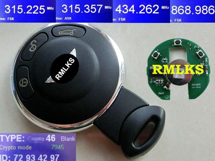 RMLKS Smart Remote Key Keyless Entry Control CAS 315 MHZ 433 MHZ 868 Mhz ID46 PCF7945 Chip Ungeschnittenes blatt Fit Für Mini Cooper
