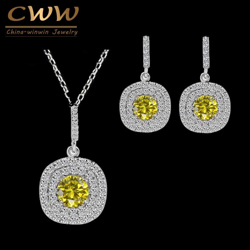CWWZircons Marke Luxus Halskette Anhänger und Ohrringe Micro Pave Einstellung Mode Gelb Zirkonia Schmuck Set T022
