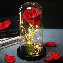 Романтика вечная жизнь цветок стеклянная крышка красота и чудовище РОЗА светодиодная лампа; аккумулятор День рождения Валентина Рождество подарок матери