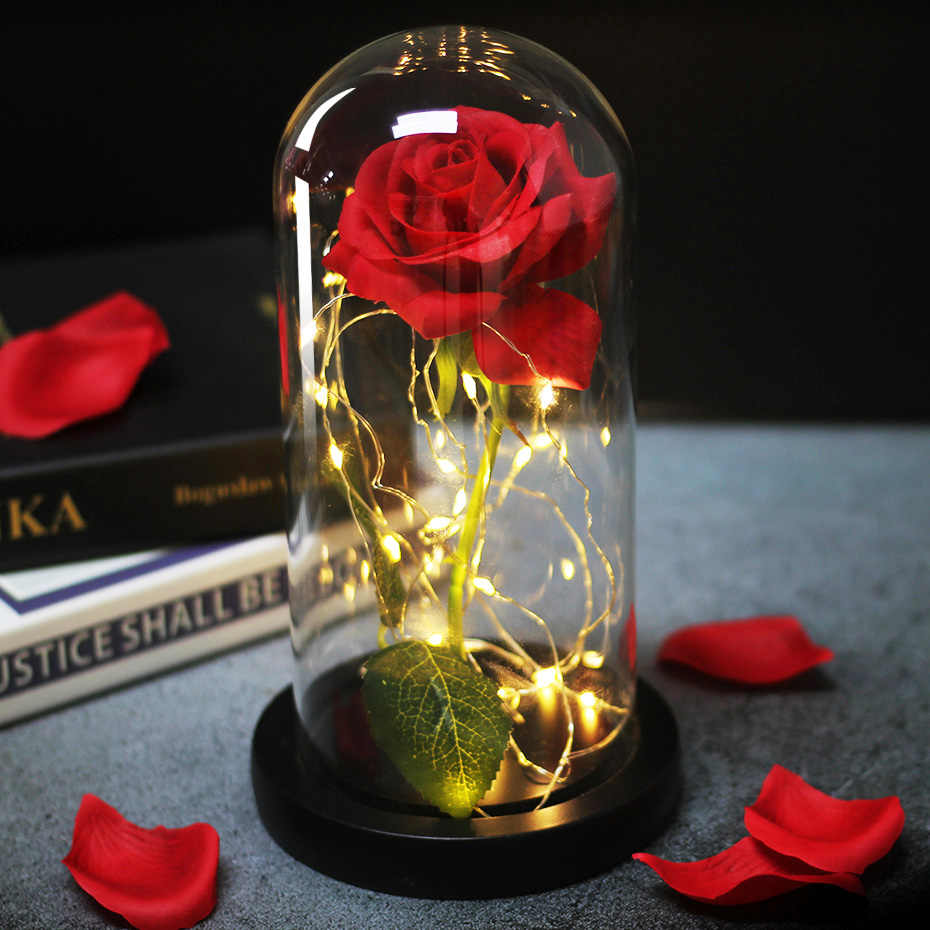 Romance  Eternal Life Flower Glass Cover Beauty and Beast Rose LED Battery Lamp Birthday Valentine's Day Mother Gifts Home Decor