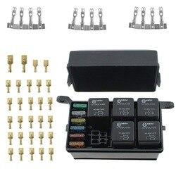 Samochodów łódź 12 Slot moduł przekaźnikowy 6 przekaźników 6 BladeFuse przekaźnik Box z bezpiecznikiem i 4 pin 12V 40A przekaźnik metalowe kołki terminal w Przełączniki i przekaźniki samochodowe od Samochody i motocykle na