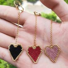 FAIRYWOO Ethnic Miyuki Heart Earring Long Tassel Stainless Steel Chain Gold Drop Earrings Simple Sweet Delica Woman