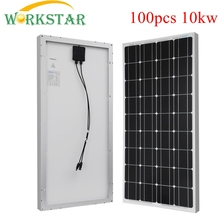 100pcs/lot Aluminum Frame 18V 100 Watts Solar Module with Glass laminate Mono silicon 10kw Solar System Factory Price