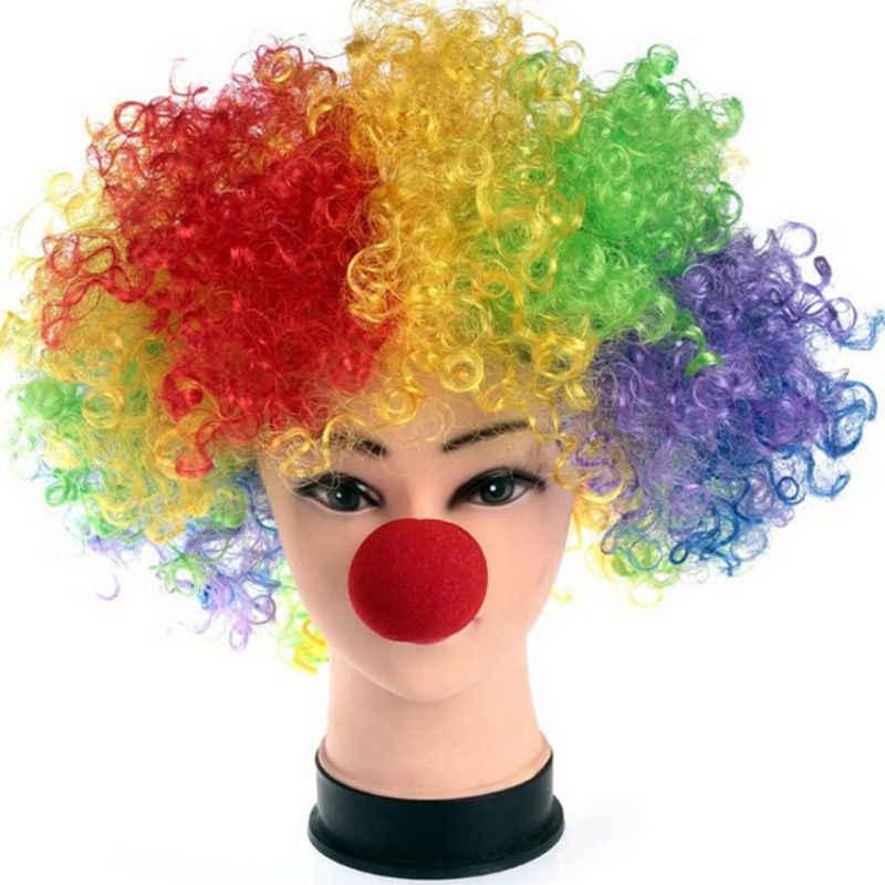 1 قطعة الكرة الإسفنج الأحمر مهرج الأنف تنكر ملابس مهرج انفجار تجعيد الشعر شعر مستعار الجملة هالوين الطرف لوازم hot