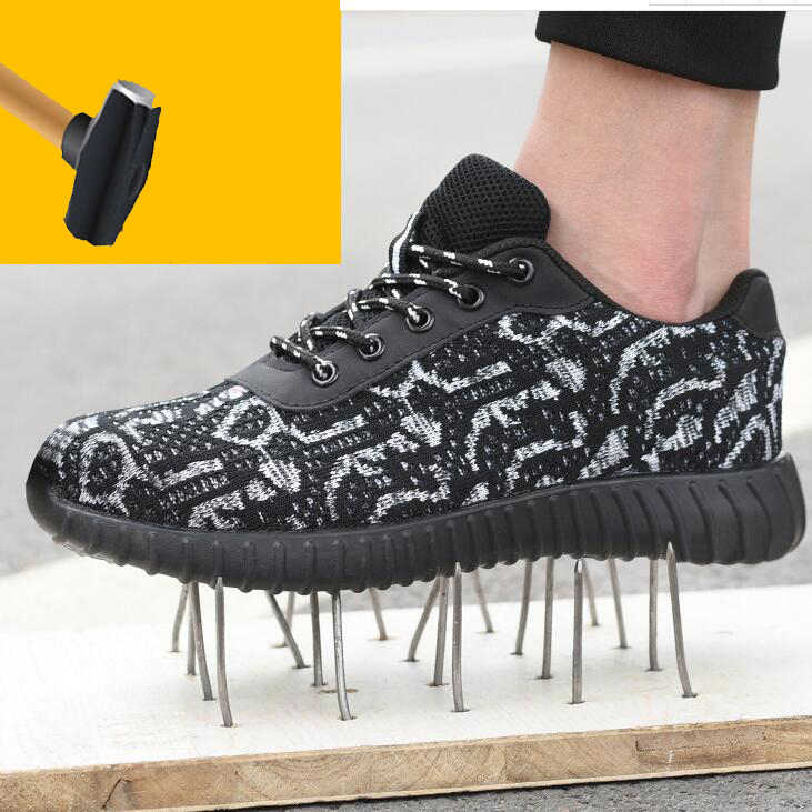Erkek çelik ayak iş güvenliği ayakkabıları rahat nefes açık ayakkabı delinme geçirmez çizmeler rahat endüstriyel ayakkabı erkekler için 1