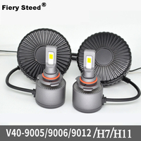 Fiery Steed Led Light Car 60W 4000LM 6000 6500K Mini Canbus Lampada H11 H7 LED Car Headlight D2 9005 9006 9012 Auto Headlights