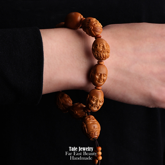 TALE Wholesale Artisan Hand Carved Olive Nut Seed Buddha Statue Mala Beads Bracelet Chinese Miniature Jewelry Collectible Hediao