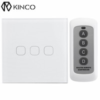 KINCO Black White Gold 2 3Gang Touch Light Switch Tempered Glass Panel AC 110 240V Smart