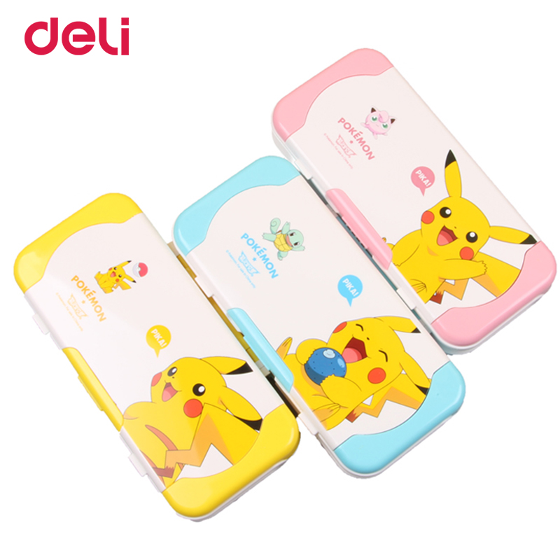 Deli cute children multifunctional three-layer pencil box pokemon plastic school pencil cases gifts ruler Pikachu stationery set