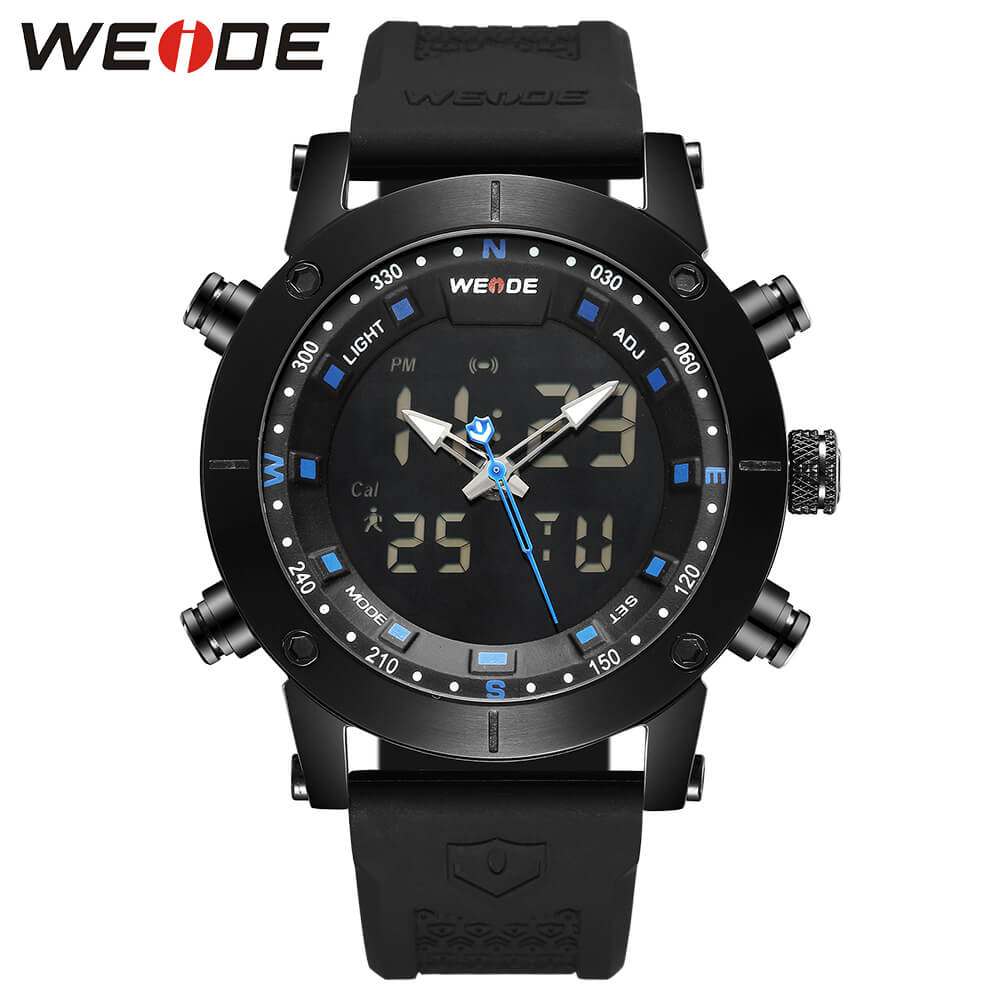 купить WEIDE luxury Genuine LCD digital Sport fitness watch alarm clock men Water Resistant Analog Quartz watches box original lmen's по цене 3010.93 рублей