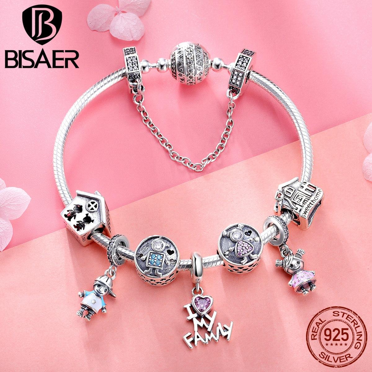 925 Sterling Argent Bracelets Amour Famille Maison Sécurité Chaîne Femme Bracelets & Bangles pour les Femmes Pulseira Bijoux En Argent ECB810