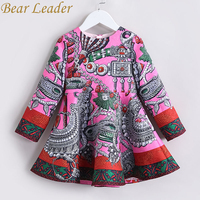Bear Leader Girls Dress 2017 New Autumn European American Style Long Sleeve Colorful Princess Dress Luxury