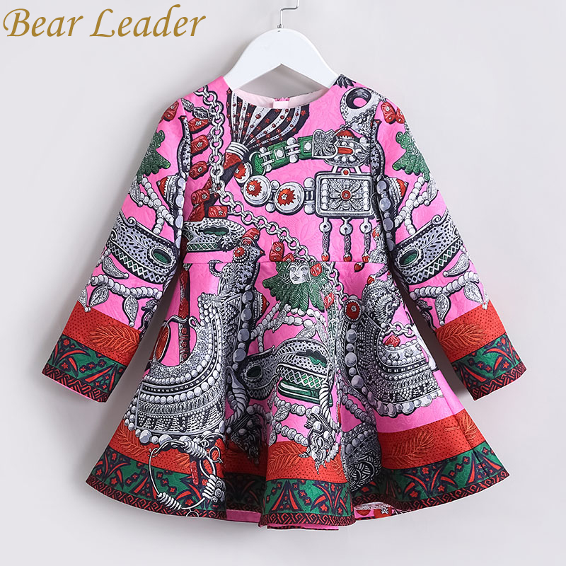 Bear Leader Girls Dress 2017 New Autumn European&American Style Long Sleeve Colorful Princess Dress Luxury Girl Dress For 4-14Y 2016 new autumn girls costume european&american style kids dress for girls fashion lace floral child long sleeve dress