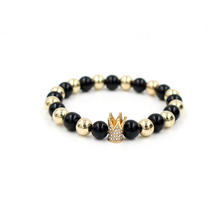 2017 Drop Shippinng Trendy Gold Color Imperial Crown Pave Crystal Bead Natural Onxy Stone Men Strand Bracelets Jewelry Gift
