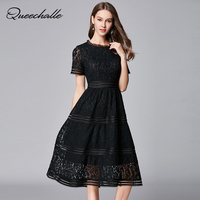 Top Design Black Color Hollow Out Lace Dress Summer O Neck Short Sleeve Slim Waist Party