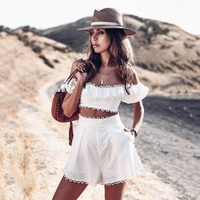 CS003 off the shoulder crop top and high waist lace decorate polka dot women white shorts