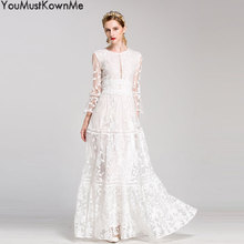 2019 women maxi long dress luxury embroidered elegant half sleeve a-line white party formal evening good quality 2XL