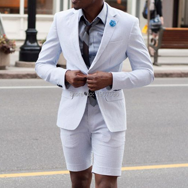 White Slim Fit Summer Mens Suits for Beach Prom 2 Piece Set Jacket with Short Pants Wedding Groom Tuxedos Male Party Clothes