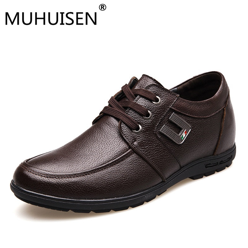 MUHUISEN Men Height Increasing Shoes Man Elevator Shoes Increa 5cm Height Mens Casual Business Shoes Genuine Leather Shoe