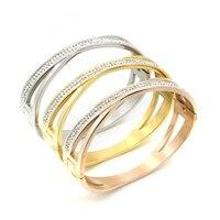 Cuff White Gold Planted 2 Circles X Cross Love Bracelets Bangles Women Hollow Paved Rhinestones Pulseras