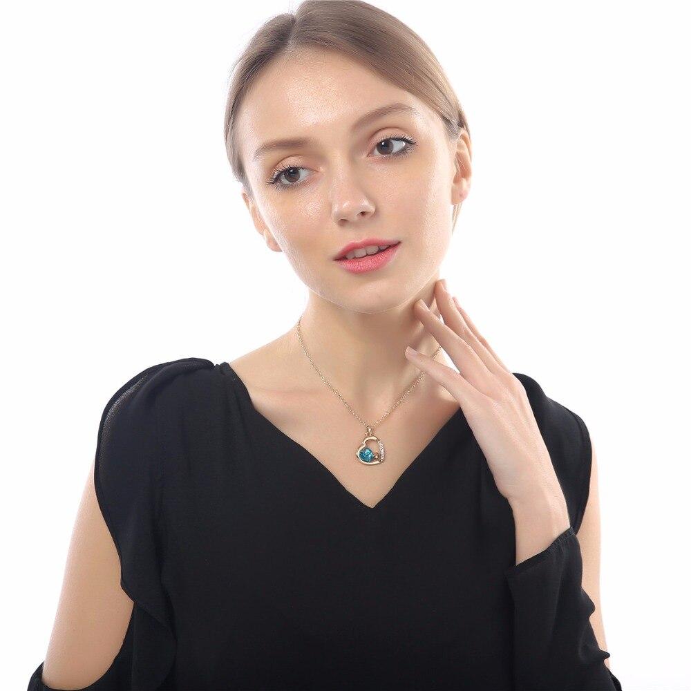 С фабрики Самая низкая цена GP Мода австрийский кристалл океана сердце ожерелье кулон Модные ювелирные изделия 83004
