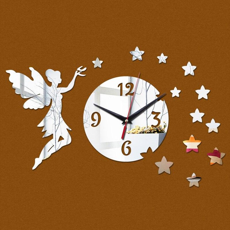 2015 nova chegada diy relógio de parede decoração casa adesivo promoção superfície do espelho relógio sala de estar mudo frete grátis
