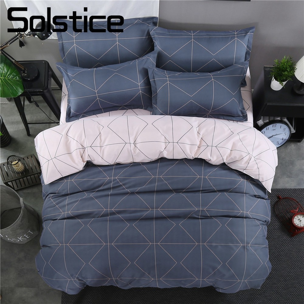 Solstice Home Textile Bedding Sets Simple Style Geometric Pattern Cute Girls Bedclothes Duvet Cover Pillowcase Bed Sheets