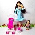 Venda quente as crianças brincam casa conjuntos de móveis casa de bonecas para grávidas barbie boneca carrinho de criança mobília do berçário do bebê toys kelly, yf-99