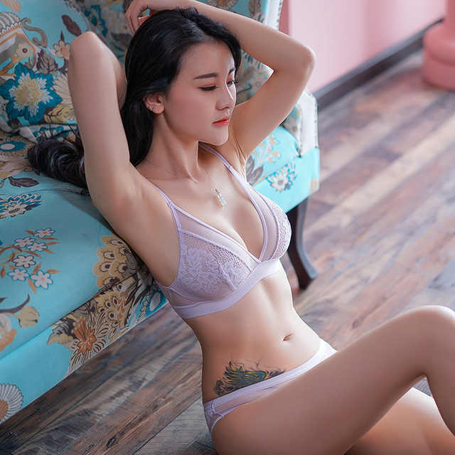 190c6f6254 Shaonvmeiwu Ultra-thin bralette without rims sexy lace bra set without  sponge triangle cup underwear